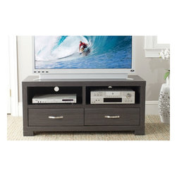 Safavieh - Safavieh Monroe Storage Dark Grey 2-drawer TV Cabinet - The natural style of this modern gray TV cabinet works great in any media room. The wood-grain finish gives a warm feel to your home. The cabinet includes two spacious drawers for you to neatly store all of your media accessories,nicely hidden away.