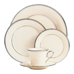 Lenox - Lenox Solitaire 5-piece Place Setting - This signature Lenox place setting features a Solitaire pattern on ivory bone china with glistening platinum banding. The simple, classic, beautiful design of these dishes will adorn your dinner table with elegance and tradition.