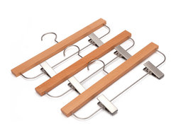 J.S. Hanger - J.S. Hanger® Pack of 5 Wooden Skirt/Pants Hangers, Beech wood Hangers - Feature: