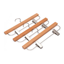 J.S. Hanger - J.S. Hanger® Pack of 5 Wooden Skirt/Pants Hangers, Beech wood Hangers - Feature: