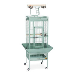 """Prevue Hendryx - Signature Series Select Wrought Iron Cage - 18x18x57 - Select Signature wrought iron cage includes top and bottom pull out drawers, and bottom pull out grille, 4 stainless steel cups, top playpen and rounded seed guards, and cage stand with easy-rolling casters. All cages have heavy duty push button door lock, and 2 wooden perches. The cages are available in 8 different powder-coated colors, 5 non-toxic powder coated hammer tone finishes: - black, chalk white and pewter, Coco, Sage & 3 non-toxic shiny, brilliant finishes: -Jade Green, Garnet Red, and Cobalt Blue. -Available in black, cobalt blue, chalk white, coco, jade green, garnet red, sage green and pewter. -Cage includes bottom grille, 4 stainless steel cups, top playpen and seed guards. -Pull-out tray and grille with grille-clip. -Measures 18"""" L x 18"""" W x 57"""" H. -0.75"""" wire spacing. -90 day warranty."""