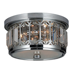 "Worldwide Lighting - Parlour 3 Light Chrome Finish Crystal Flush Mount Ceiling Light 10"" Round - This stunning 3-Light Crystal Flush Mount only uses the best quality material and workmanship ensuring a beautiful heirloom quality piece. Featuring a radiant chrome finish and finely cut premium grade clear crystals with a lead content of 30%, this elegant wall sconce will give any room sparkle and glamour."