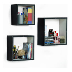 Blancho Bedding - [Black & White]Square Leather Wall Shelf / Bookshelf / Floating Shelf (Set of 3) - These square wall cube shelves add a new and refreshing element to your room and can be easily combined with other pieces to create a customized wall space. Coming in various colors and sizes, they spice up your home's decor, add versatility, and create a whole new range of storage spaces. You can hang them on the wall, or have them stand on table or floor, any way you like. Perfect for wall mounting, these modern display floating shelves are sure to delight. Constructed from MDF with a top faux leather wrapping. Fashion forward design has never been so functional. This range of faux leather storage cubes is sure to delight! Easy to mount, easy to love! Attractive shelf boxes give any wall in your home a striking appearance. Arrange in whatever fashion you like - whether it be grouped together or displayed separately. Each box serves as a practical shelf, as well as a great wall decoration.