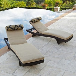 RST Outdoor Delano Wave Resin Wicker Lounger with Cushions- Set of 2 - Additional Features Gorgeous lounger with clean simple lines Ultra-strong powder coated aluminum frame Rattan is cool to the touch and won't stick to your skin Aluminum frame features a rich bronze finish 5 way adjustable backrest and four post folding feet Features a contoured back legs and body Comfortable bolster pillows included Plush 3-inch thick mattress pad in earth beige Mattress constructed with Olefin fabric Chairs stack up to 8 units high The gorgeous RST Outdoor Delano Wave Chaise Lounger with Mattress and Bolster Pillow Set features clean lines and simple yet beautiful earth tones that look great anywhere. Crafted from eco-friendly recycled hand-woven polyethylene wicker rattan in a rich espresso brown this lounger is designed to be UV- weather- and fade-resistant. The sturdy powder-coated aluminum frame has a rich bronze finish and is made to withstand the elements. The chair features a five-way adjustable backrest and four post folding feet along with a contoured back legs and body so you won't have any problems finding the most comfortable position to lounge in. The wicker rattan is cool to the touch and won't stick to your skin while the plush 3-inch mattress pad in earth beige and contrasting bolster pillow is sure to make your time outdoors relaxing and stress-free.