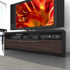 "side tables and accent tables dCOR design Naples 42"" - 68"" TV Stand in Black / Ebony Pecan"