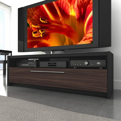 """Side Tables And End Tables dCOR design Naples 42"""" - 68"""" TV Stand in Black / Ebony Pecan"""