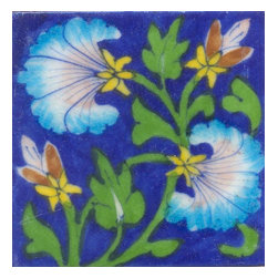 """Knobco - Tiles 3X3""""Inch, Turquoise And Pink Flowers And Green Leaf With Blue Base - Turquoise and Pink Flowers and Green leaf with Blue Base Tiles from Jaipur, India. Unique, hand painted tiles for your kitchen or other tiling project. Tile is 3x3"""" in size."""