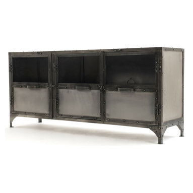 Marco Polo Imports - Darby Media Console - Function meets unique design in the Darby console. Crafted of iron and steel with an antique nickel finish, this console is definitely a standout piece that is sure to draw attention in any room.