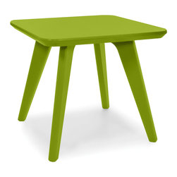 Loll Designs - Satellite End Square 18 Table, Leaf Green - In the context of outdoor lounging, a Loll Satellite accent table is a recycled polyethylene object placed into orbit around humans resting in Loll Furniture. Unlike the moon, the Loll Satellite Table actually rotates in conjunction with the Earth and her inhabitants, at just over 1,000 miles per hour, but appears to be sitting still. We think it's time for you to have your very own Satellite... perfect for star gazing on black nights with warm breezes and cold drinks. All Loll Satellite Tables are made with heavy duty 1 inch thick poly and available in an assortment of colors, shapes and sizes.