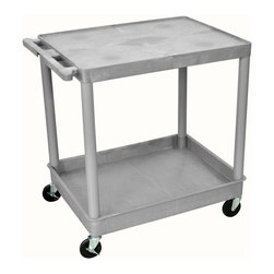 Luxor Furniture - Utility Tub Cart w 2 Shelves in Gray - Includes four heavy duty 4 in. casters. Two casters with locking brake. Molded plastic shelves. Retaining lip around the back and sides of flat shelves. Push handle molded into the top shelf. Reinforced shelves with two aluminum bars. 2.75 in. deep shelves. Weight capacity: 400 lbs.. Made from high density polyethylene structural foam molded plastic. Made in USA. 32 in. L x 24 in. W x 35.75 in. H. Warranty. Part List