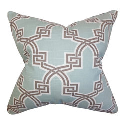 "The Pillow Collection - Letha Geometric Pillow Blue 18"" x 18"" - Adorn your sofa, bed or chair with this gorgeous accent pillow. This throw pillow features a unique geometric pattern in shades of gray, white and blue. Create texture and dimension to your living room, bedroom or lounge area with this 18"" pillow. Crafted with a blend of 55% cotton and 45% linen. Made in the USA."