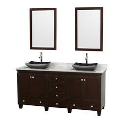 "Wyndham Collection - 72"" Acclaim Double Vanity w/ White Carrera Marble Top & Altair Black Granite Sin - Sublimely linking traditional and modern design aesthetics, and part of the exclusive Wyndham Collection Designer Series by Christopher Grubb, the Acclaim Vanity is at home in almost every bathroom decor. This solid oak vanity blends the simple lines of traditional design with modern elements like beautiful overmount sinks and brushed chrome hardware, resulting in a timeless piece of bathroom furniture. The Acclaim comes with a White Carrera or Ivory marble counter, a choice of sinks, and matching mirrors. Featuring soft close door hinges and drawer glides, you'll never hear a noisy door again! Meticulously finished with brushed chrome hardware, the attention to detail on this beautiful vanity is second to none and is sure to be envy of your friends and neighbors"