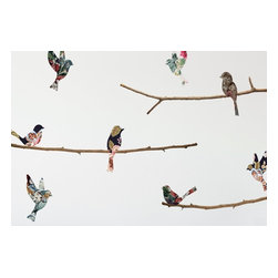 Walls Need Love - Tapestry Birds & Branches Decals - The birds and branches are printed as separate pieces on our Fab-Tac material, so you can remove and reposition them until you get the layout just right.