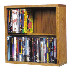 CD Racks - Solid Oak 2 Row Dowel CD/DVD Cabinet Tower - Handcrafted by the Wood Shed from durable solid oak hardwood