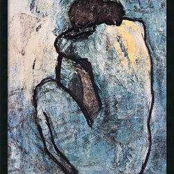 Amanti Art - Blue Nude Framed with Gel Coated Finish by Pablo Picasso - A painting from Picasso's early Blue Period, the artist's work takes on a sentimental and melancholic tone, using a monochromatic style to create depth of feeling.