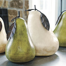 Ballard Designs - Terra-Cotta Pear, Oversized - Sun-dried, oven-fired and hand-glazed, then topped with a metal leaf and stem. Let one add interest to a tabletop or buy two for use as bookends.