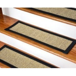 """Dean Flooring Company - Dean Attachable Non-Skid Sisal Carpet Stair Treads - Desert/Black (Set of 13) - Dean Attachable Non-Skid Sisal Carpet Stair Treads - Desert/Black (Set of 13) : Beautiful All Natural Sisal Stair Treads by Dean Flooring Company. Color: Desert Approximately 29 inches by 9 inches. Set includes 13 pieces. Each tread is bound with 3"""" wide black binding tape. High quality sisal natural fiber construction. Heavy duty non-skid rubber backing. Helps prevents slips on your hardwood stairs. Provides warmth and comfort. Extends the life of your hardwood stairs. Great for pets (facilitates navigation of slippery stairs). Easy do-it-yourself installation with included Double-Sided Carpet Tape. Add a touch of warmth and style to your stairs today!"""