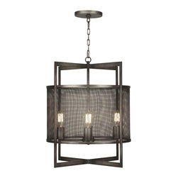 Fine Art Lamps - Relativity Lantern, 801140ST - If your eclectic style spans centuries, you'll love how this quirky-cool fixture melds neo and retro. Sleek lines get an antiqued hand-rubbed steel finish, while mesh panels reveal early-20th-century filament bulbs.
