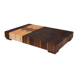 "Deoria Made - Deoria Made - ""The Northwest Block"" Cutting Board, Extra Large Rectangle - Deoria Made - The Northwest and Deoria Made - The Southwest: two regions of the United States forced to endure adverse climate conditions. The Southwest, a bone dry desert with little annual rainfall, and the Northwest, conversely, a wet landscape pickled with year round rainfall. The plants, people, and animals that inhabit these landscapes have evolved to endure the climates, which they inhabit.  As with all Deoria Made blocks, The Northwest and The Southwest are created to endure, and echo the spirit of these two persistent regions. The thickness of the block, the use of end-grain on the face of the block, the use of beeswax to repel moisture, and the firmly planted rubber feet that raise the board off counter and away from moisture are all qualities that ensure your block endures like the Northwest and Southwest do."