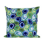 """Trans-Ocean Inc - Murano Swirl Caribbean 20"""" Square Indoor Outdoor Pillow - The highly detailed painterly effect is achieved by Liora Mannes patented Lamontage process which combines hand crafted art with cutting edge technology. These pillows are made with 100% polyester microfiber for an extra soft hand, and a 100% Polyester Insert. Liora Manne's pillows are suitable for Indoors or Outdoors, are antimicrobial, have a removable cover with a zipper closure for easy-care, and are handwashable.; Material: 100% Polyester; Primary Color: Green;  Secondary Colors: blue, white; Pattern: Murano Swirl; Dimensions: 20 inches length x 20 inches width; Construction: Hand Made; Care Instructions: Hand wash with mild detergent. Air dry flat. Do not use a hard bristle brush."""