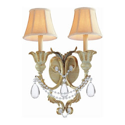 Crystorama - 2-Lights Crystal Wrought Iron Hand Painted Wall Sconce (Champagne) - Finish: Champagne.