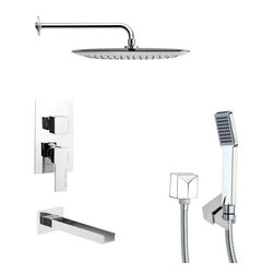 Remer - Square Chrome Shower System - Single function tub and shower faucet.