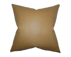 "The Pillow Collection - Quintas Solid Pillow Khaki - Adorn your living space with this completely unique accent pillow. This solid throw pillow is simple and features an earthy khaki hue. Refresh your living space by decorating your sofa, bed or chair with this 18"" pillow. Made in the USA and constructed with high-quality faux leather material. Hidden zipper closure for easy cover removal.  Knife edge finish on all four sides.  Reversible pillow with the same fabric on the back side.  Spot cleaning suggested."
