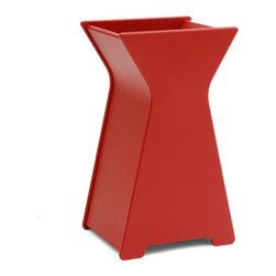 Loll Designs - Hourglass Planter, Apple Red, Small - Who says you have to be a square when it comes to designing containers? Our friend Steve Cozzolino created this whimsical look that will add a depth and inspiration to your garden. The large hourglass Container will make quite a statement as a front door piece. Available in two sizes.