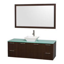 "Wyndham Collection - Amare 60"" Espresso Single Sink Vanity Set w/ Green Glass Top & 58"" Mirror - Modern clean lines and a truly elegant design aesthetic meet affordability in the Wyndham Collection Amare Vanity. Available with green glass or pure white man-made stone counters, and featuring soft close door hinges and drawer glides, you'll never hear a noisy door again! Meticulously finished with brushed Chrome hardware, the attention to detail on this elegant contemporary vanity is unrivalled."