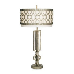 Kathy Ireland - Kathy Ireland Home City Circles Table Lamp - Celebrate the artistic pulse of a city with this designer table lamp from the Kathy Ireland Home Collection. The decoratively-rolled drum shade trim serves as the focal point for this fun and stylish lamp.