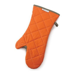 "Outset Cotton Grill Mitt Orange - The Outset cotton grill mitt is constructed of heat resistant cotton and treated with a flame retardant so you can keep your cool while working the grill.  The extra long 16 "" length keeps you cool up to your elbow allowing you to take advantage of all of the space on the grill without the worry of burned arms.  The patented thumb guard adds protection to the most vulnerable area of the mitt.  Product Features      Cotton fabric has a heat resistant and flame retardant treatment   Extra thick insulated layer protects hands up to 450 Degrees F (230 Degrees C)   Soft lining for extra comfort   Patented thumb guard provides added protection to the most vulnerable area of the mitt"
