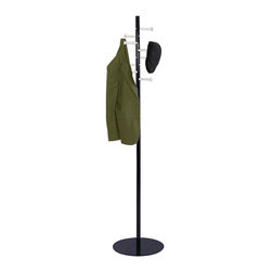Safco - Spiral Nail Head Costumer - Provide guests or customers a convenient place for stashing jackets, coats, hats and scarves. Our stylish costumer features nail head hooks that extend horizontally. In a contrasting metal finish, they complement the classic black metal pole with round platform base. Design that spiral with function. Stylish look. Hook holds up to 10 lbs.. Eight hooks. GREENGUARD Certified. Made from steel. Powder coat and brushed aluminum finish. 15 in. Diameter x 67 in. H (17 lbs.). Hook: 4.38 in. - 5.38 in.. Assembly InstructionMake a great impression with your guests rain or shine! Make sure each guest has a place for their hats, coats and scarves. This customer can greet guests in your reception area, lobby, office, waiting room, training center, conference room or classroom. Also great in any entrance area such as an atrium or foyer. And create space for your guests to hang their hats in a restaurant, food court, warehouse or any place your guests visit. Now all your guests will feel like they're at home.