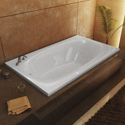 Venzi - Venzi Talia 42 x 72 Rectangular Air Jetted Bathtub - The Talia series features a blend of oval and rectangular construction and molded armrests. Soft surround curves of the interior provide soothing comfort. The narrow width of the Talia bathtubs' edge adds additional space.