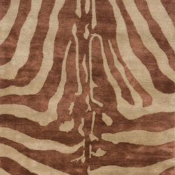 Momeni - Momeni Serengeti Copper Brown Zebra Animal Prints 2' x 8' Runner Rug by RugLots - Serengeti is an elegant collection of hand-tufted rugs that resemble the beautiful animal prints found in the African outback. Gorgeous giraffe, tiger and zebra prints in distinctive color combinations make this group of rugs irresistible. Hand-tufted of 100% wool.