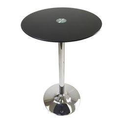 """Winsome Wood - Winsome Wood Rossi Pub Table with Black / Metal Finish X-44439 - Rossi Round Tempered Glass Pub Table is perfect additional for your kitchen or game room.  Table top size is 23.62W x 23.62""""D.  Black tempered Glass top finish with chrome leg and base.  Assembly Required"""