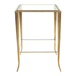 Safavieh - Tory Accent Table - Masterfully built with gently curved iron legs in a burnished gold finish, the glass-topped Troy accent table is elegant and practical with bottom shelf for display or storage.