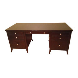 Arhaus Executive Desk - $2,300 Est. Retail - $1,100 on Chairish.com - Step into my office, baby! This is a Kieran Executive Desk from Arhaus Furniture. It's only 2.5 years old and in excellent condition!- Solid mahogany wood face frame with open grain mahogany veneers on top, side and back panels- Flip down keyboard drawer- File drawer for letter or legal sizes files- 2 cord management holes (hides cords)- Drawers have extending glides reinforced with mortise and tenon joinery. Would not be selling if we didn't need to make room for a baby!