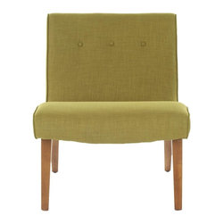 Safavieh - Saleem Chair - The retro-chic lines channeling the office chairs that made their way to living rooms across America in the 60's define the sweet pea green upholstered Saleem accent chair.  Trendy in its simplicity, Saleem features birch wood legs of the period in natural oak finish, and is upholstered in a blend of polyester and viscose yarns for easy care.