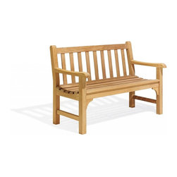 Oxford Garden - Essex 4 Foot Bench - The beautiful and classic Essex 4' Bench will make a wonderful seating statement where ever it is placed.  The beautifully simple design includes thick and heavy legs and classic corner braces.  The entire Essex line of benches and chairs have been designed to present a grand scale.  Unlike any of our other styles, the Essex line is built of large 2 and 1/8 dimensional lumber.  The increased scale has also been employed in the overall dimensions of the chair.  Like all of our furniture, this chair is made of shorea, a teak family wood that is more dense and heavy than teak.  Shorea requires no finishing and will not rot when left outdoors where rain and sun will damage other lesser quality woods.  Left untreated, shorea will weather to a soft warm shade of gray similar to the weathering of teak.  Sturdy mortise and tenon construction provides the highest quality joinery that will last for many years.  Original color can be maintained by applying a seasonal coat of teak oil.