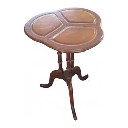 Faux Leather Accent Table - Duncan Phyfe style vintage inlaid faux leather top accent table. Clover leaf shaped top, dark wood with ornamental design base and curved legs. Good vintage condition for age and wear.