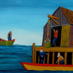 """""""Landing The Catch, Painting"""" - This acrylics on archival quality canvas paper painting depicts a two man crew of a dory landing their catch of fish at their fishing stage while another fisherman waits his turn.    This paiinting is 12 inches high and 16 inches wide which equates to 30X40 centimeters. To protect the surface of the painting I have given it a coating of clear varnish."""