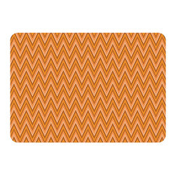 Bungalow Flooring - Premium Comfort Chevron Weave Mat, Tangerine - Woven polyester face captures colors and graphics in near photographic quality.