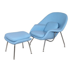 Hampton Modern - Eero Saarinen Style Womb Chair and Ottoman Set in Baby Blue - The Womb Style Lounge Chair and Ottoman offers a classic look that is incredibly comfortable due to the contouring shape, plush pillows included, and soft upholstered wool.  A great chair for reading, kicking your feet up and relaxing, or even taking a cozy nap by a fireplace, it is sure to meet your approval.  Features high quality hand stitching that will last, and stainless steel leg frame.