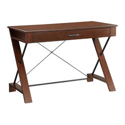 INSPIRED by Bassett - Writing Desk in Pecan Finish - Decorative steel supports. Pullout keyboard drawer with flip-down drawer face. Residential use only. Made from solid wood and veneers. Assembly required. 44 in. W x 22 in. D x 30.25 in. H (52 lbs.)