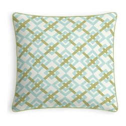 Aqua & Green Diamond Lattice Custom Throw Pillow - Every decorator knows: it's the details that make a room.  That's why we love the Microcord Throw Pillow with a thin piped edge that adds just a hint of color. We love it in this bright aqua and grass green geometric on a smooth sateen cotton. This interlocking diamond pattern will fit any modern decor.  Is this duck or sateen?