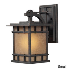 ELK LIGHTING - Newlton 1-light Outdoor Sconce - Bring Arts and Crafts style to your outdoor lighting with the Newlton sconce. The cast aluminum framework is accentuated with a weathered charcoal bronze finish and amber glass.