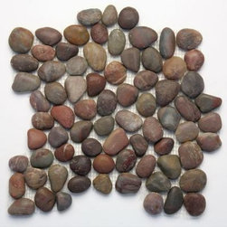 Solistone Anatolia Honed Agate Natural Stone Pebble Mosaic - How about adding real stones to your backsplash? Earthy, textural, neutral, and fun, this rustic element just keeps gaining popularity.