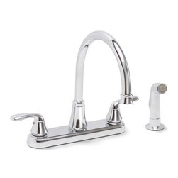 PREMIER - Premier 126967 Waterfront Lead-Free Two-Handle Kitchen Faucet with Spray, Chrome - # Hybrid material housing  Stainless Steel swivel spout  Trouble-free washerless cartridges Brass reinforced inlet shank  With ABS Sprayer and braided hose  two handle; kitchen; faucet; lead free; spray