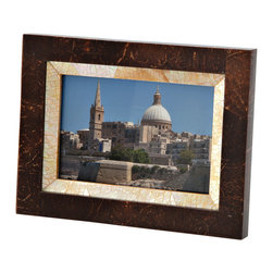 "Kouboo - Coconut Shell & Mother-of-Pearl Picture Frame, 4"" x 6"" - These delicately handcrafted picture frames combine coconut shells and mother-of-pearl for a elegant, yet earthy home accent. Perfect for showcasing your favorite family or nature photos, these coconut shell and mother-of-pearl picture frames can be displayed alone or grouped with other frames of varying sizes for an impressive effect."