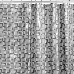 """Maytex Mills, Inc. - Stained Glass 70"""" x 72"""" PEVA Shower Curtain - The embossed black-and-white stained glass motif will add a sophisticated touch to any bath decor. This shower curtain is 100% PEVA and includes rust-proof metal grommets."""